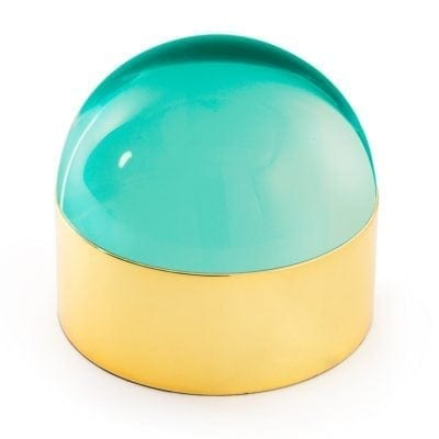 Medium Globo Green and Brass Box