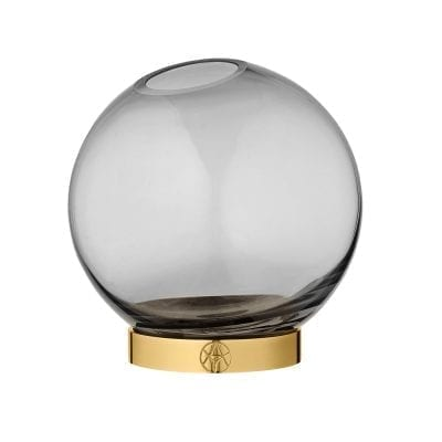 Globe Vase w.stand Black Small