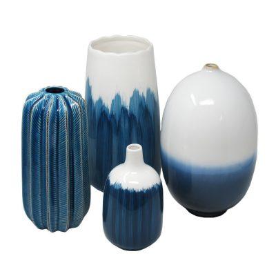 Set of 4 Blue -White Vases