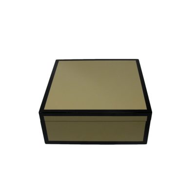 Beige Black Square Lacquer Box Medium