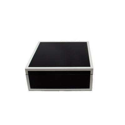 Black White Square Lacquer Box Medium