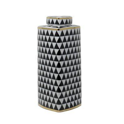 Black – White Triangle Print Ceramic Vase High