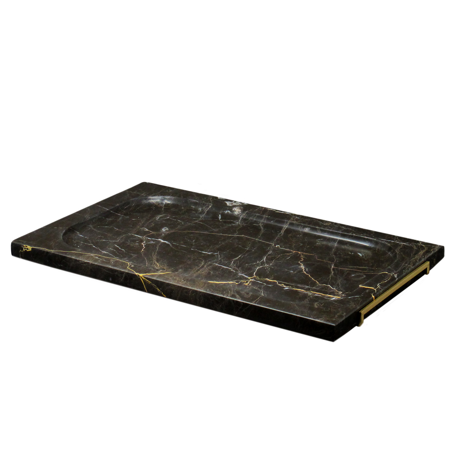 Rectangular Brown Marble Platter with Brass Clutches