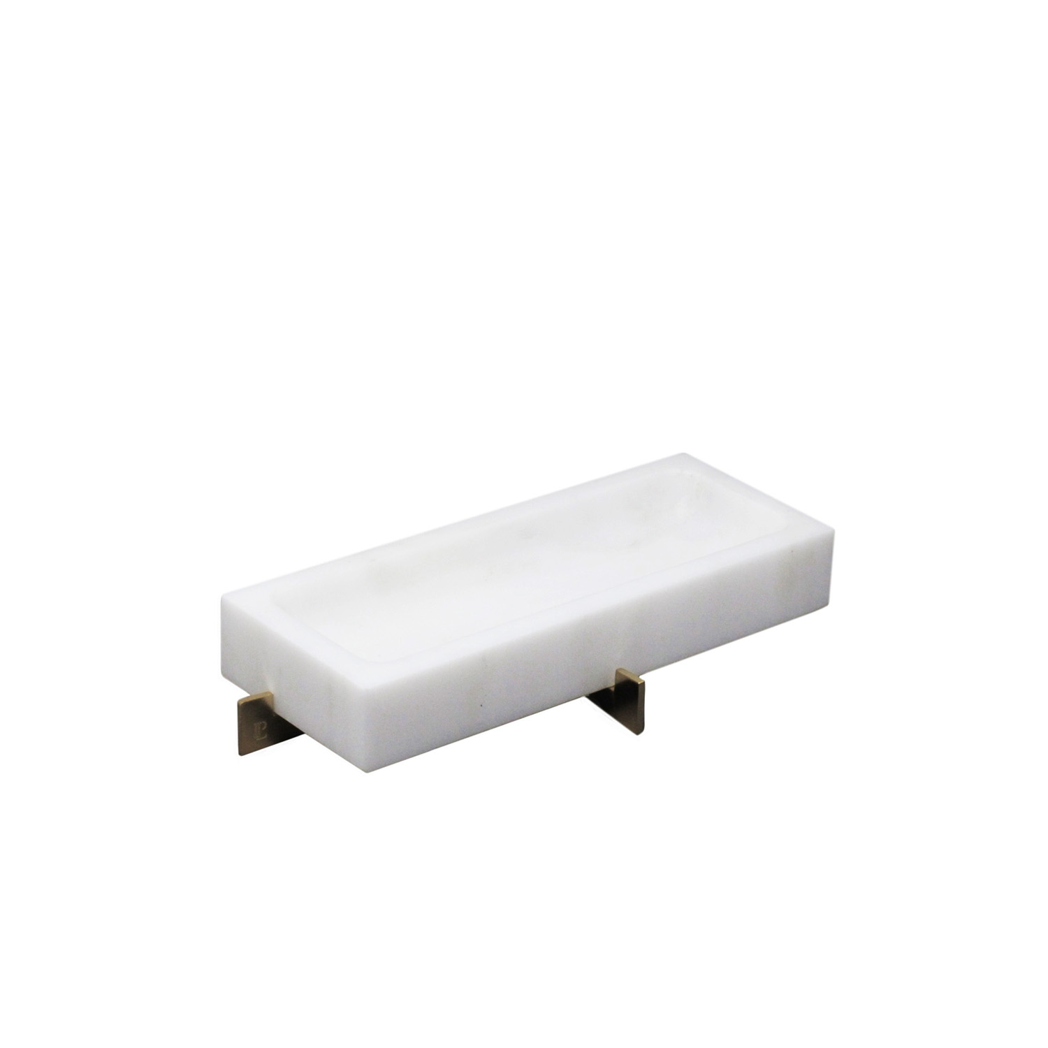 White Rectangular Marble Bowl with Brass Base