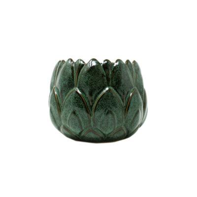 Green Stoneware Candle Medium Greek Herbs