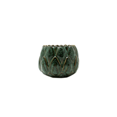 Green Stoneware Candle Small Greek Herbs