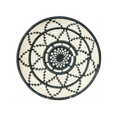 Large Black and White Thousand Hills Round Basket