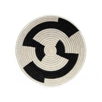Large Black and White Geo Round Basket