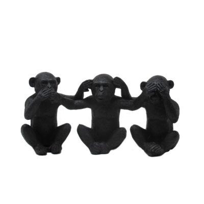 Set of 3 Black Ceramic Monkeys
